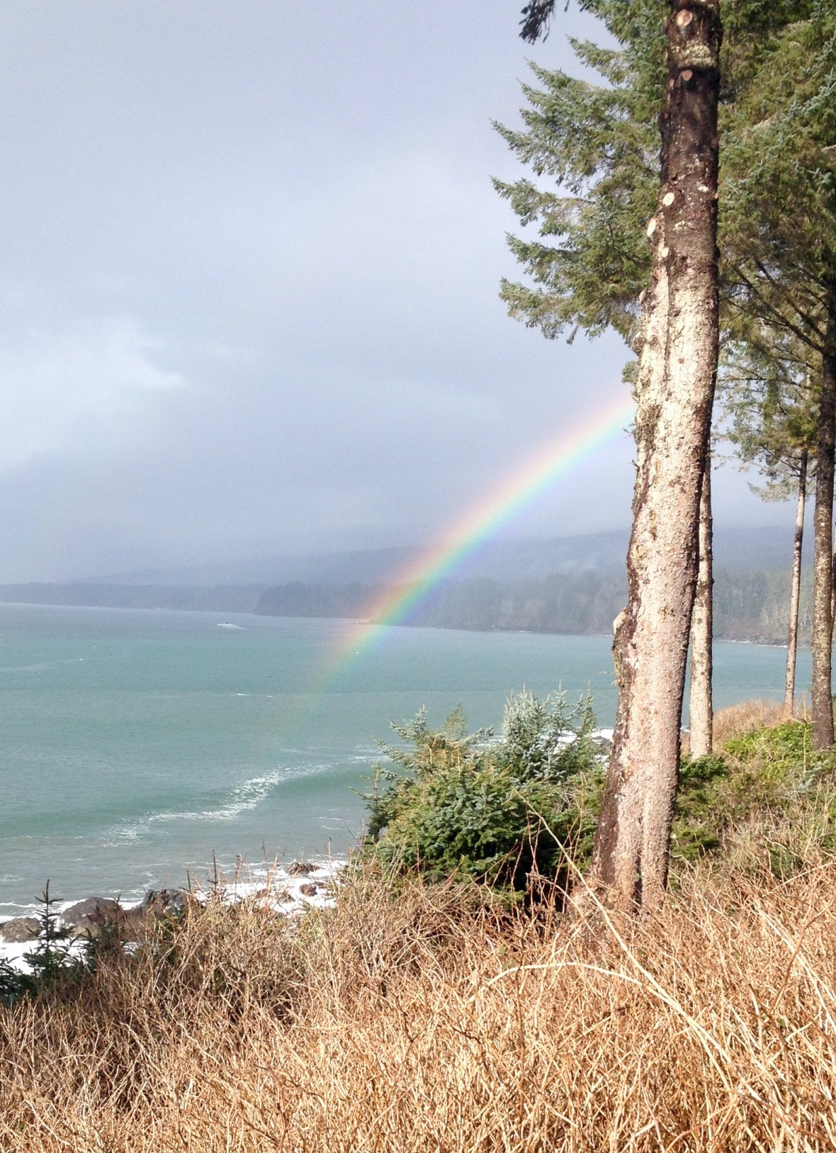 A rainbow breaks through the grey skies and ends in the ocean.